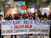 Minhaj University students show solidarity with Rohingya Muslims