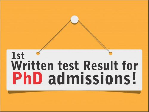 Written test Result for PhD admissions
